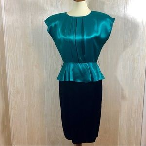 Vintage 80's Peplum Top Dress Emerald & Black